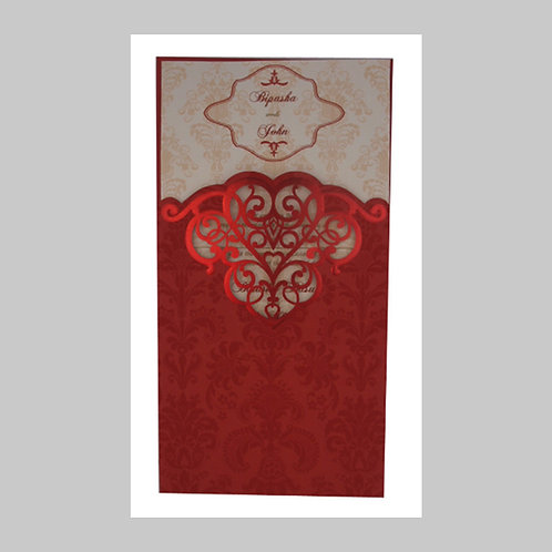 Royal Red Pocket Laser Cut Invitation LC2002