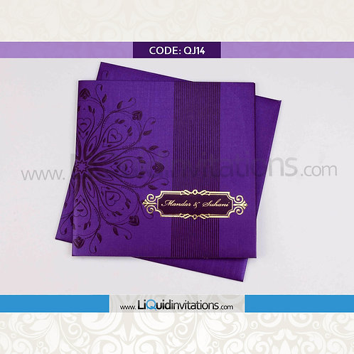 Purple & Violet Wedding Invitation Card QJI14