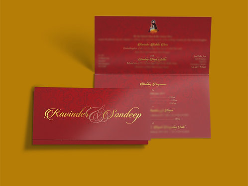 SAMPLE - Red & Gold Folded DL Wedding Invitation Card QTF05