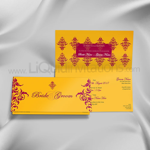 Saphire Yellow & Red Folded Wedding Card QTF18
