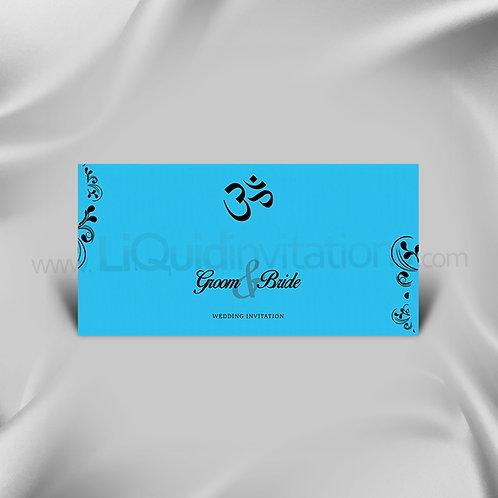 Hindu wedding card Turquoise & Black QDL50