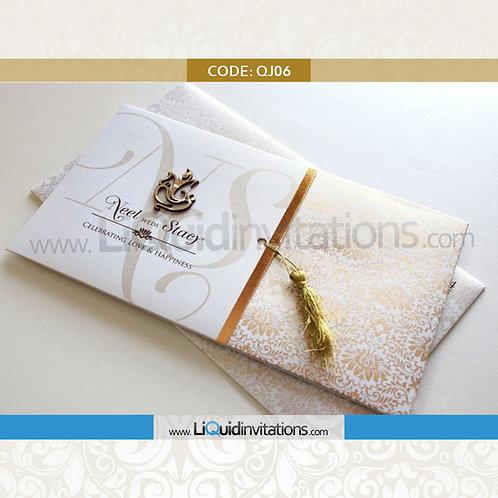 White, Cream & Gold Wedding Invitation Card QJI06