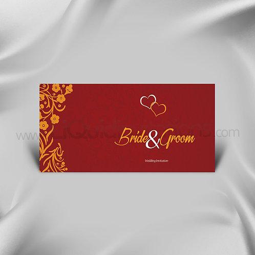 Flower heart Red and Orange Wedding Card QDL12