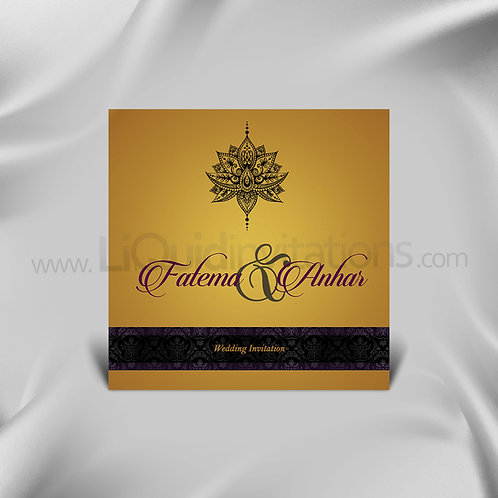 Unique Floral Wedding Card - Bronze & Black QSQ01