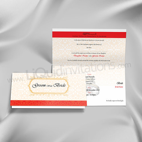 Red & White folded Indian wedding card QTF21