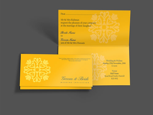Yellow Folded DL Wedding Invitation Card QTF14