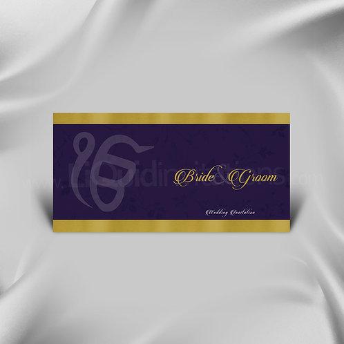 Sikh Wedding Invitation Purple with Gold Wedding Invitation Card QDL33