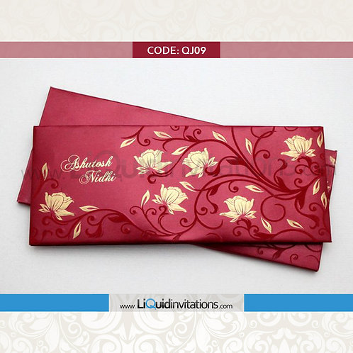 Red & Gold Wedding Invitation Card QJI10