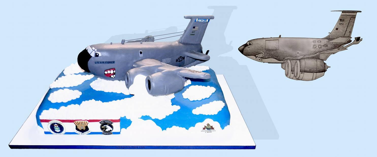 Cartoon Military Plane Cake