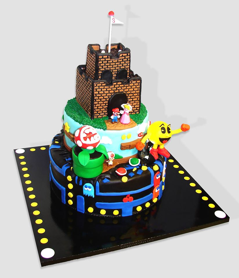 Mario and Pac-man Cake