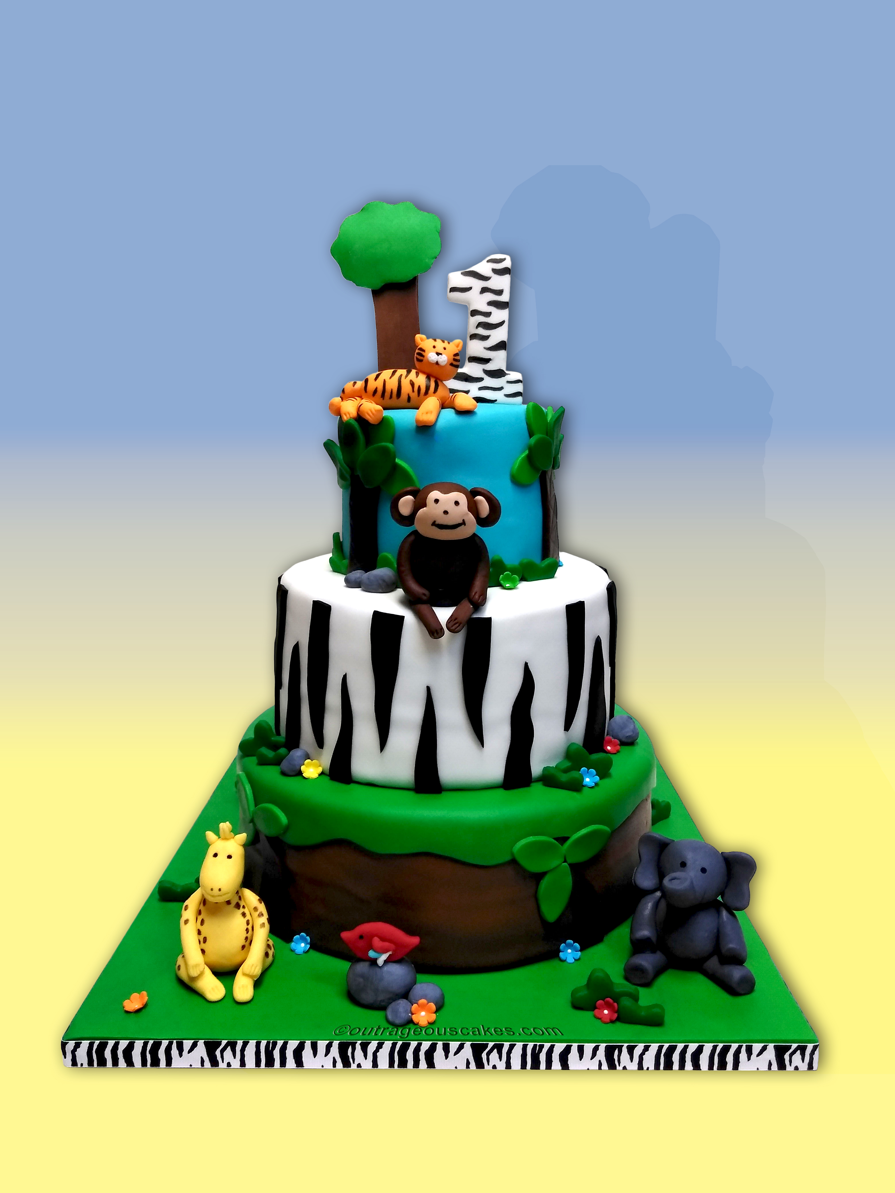 Astounding Jungle Cakes Boat Party Wiki Cakes Personalised Birthday Cards Veneteletsinfo