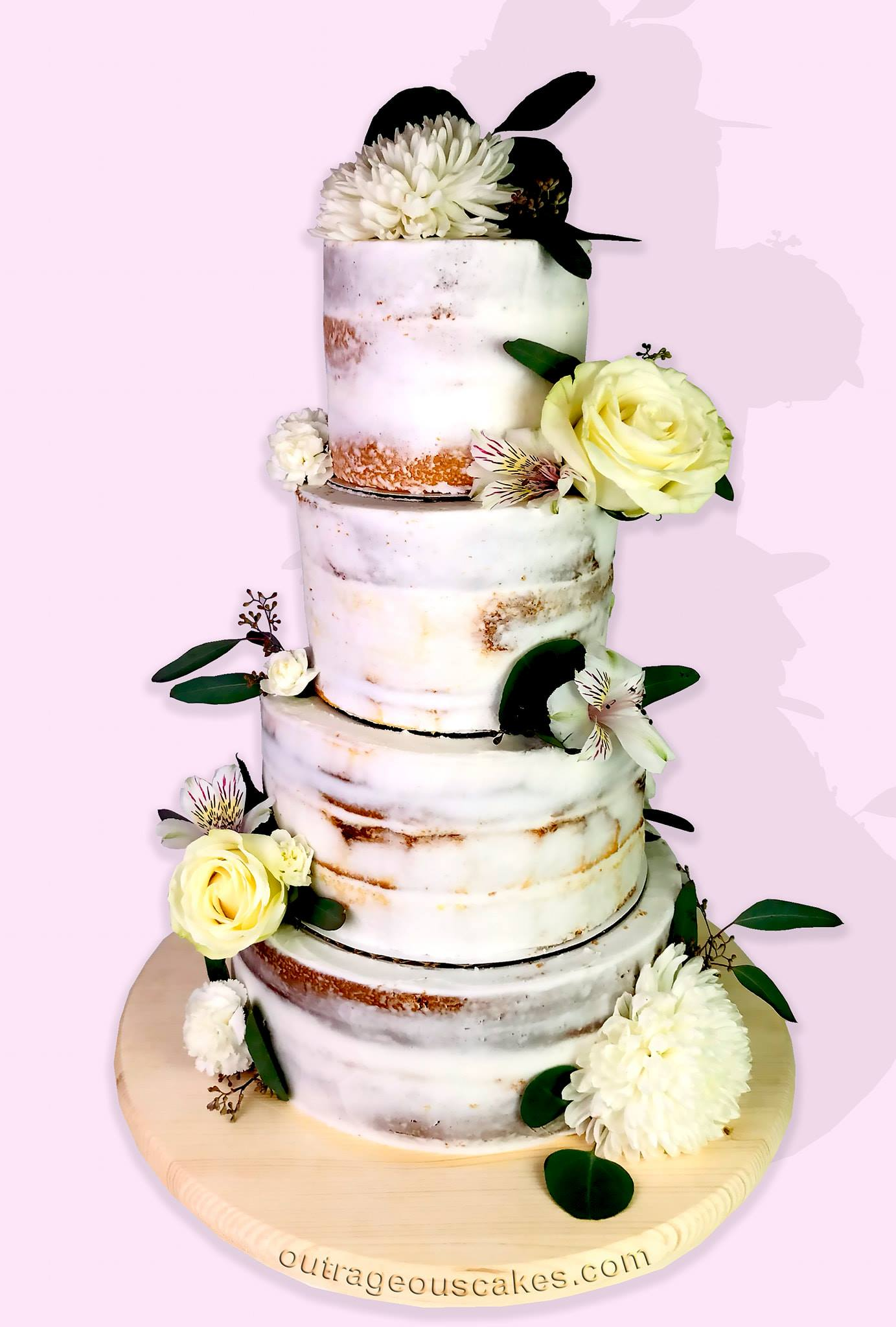4 Tiered Semi-naked Cake