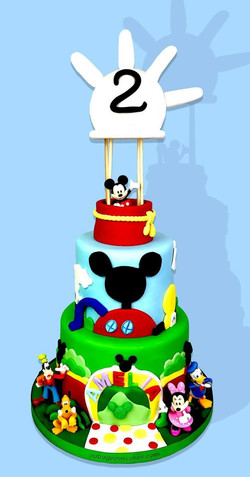 Tiered Mickey's Clubhouse Cake