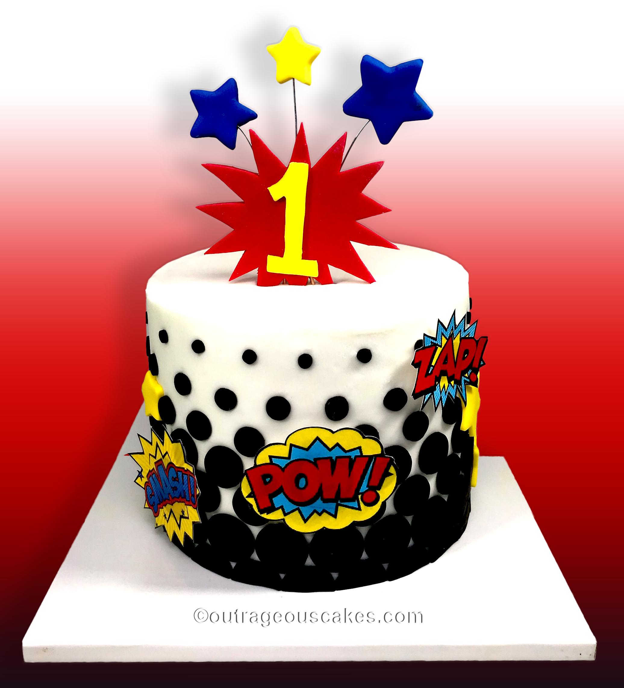 Single Tiered Superhero Cake