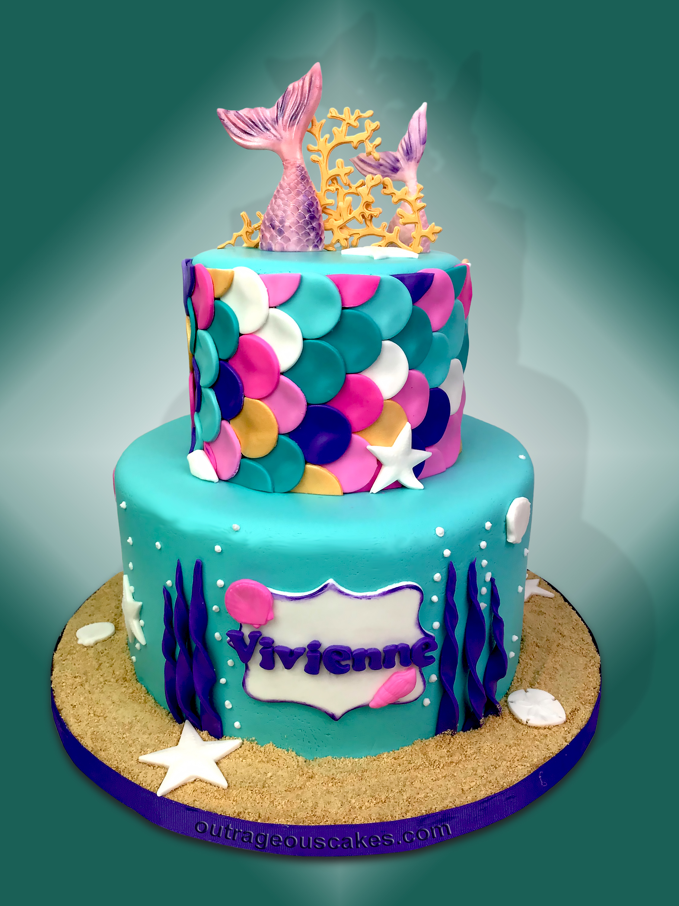 Two Tiered Mermaid Cake