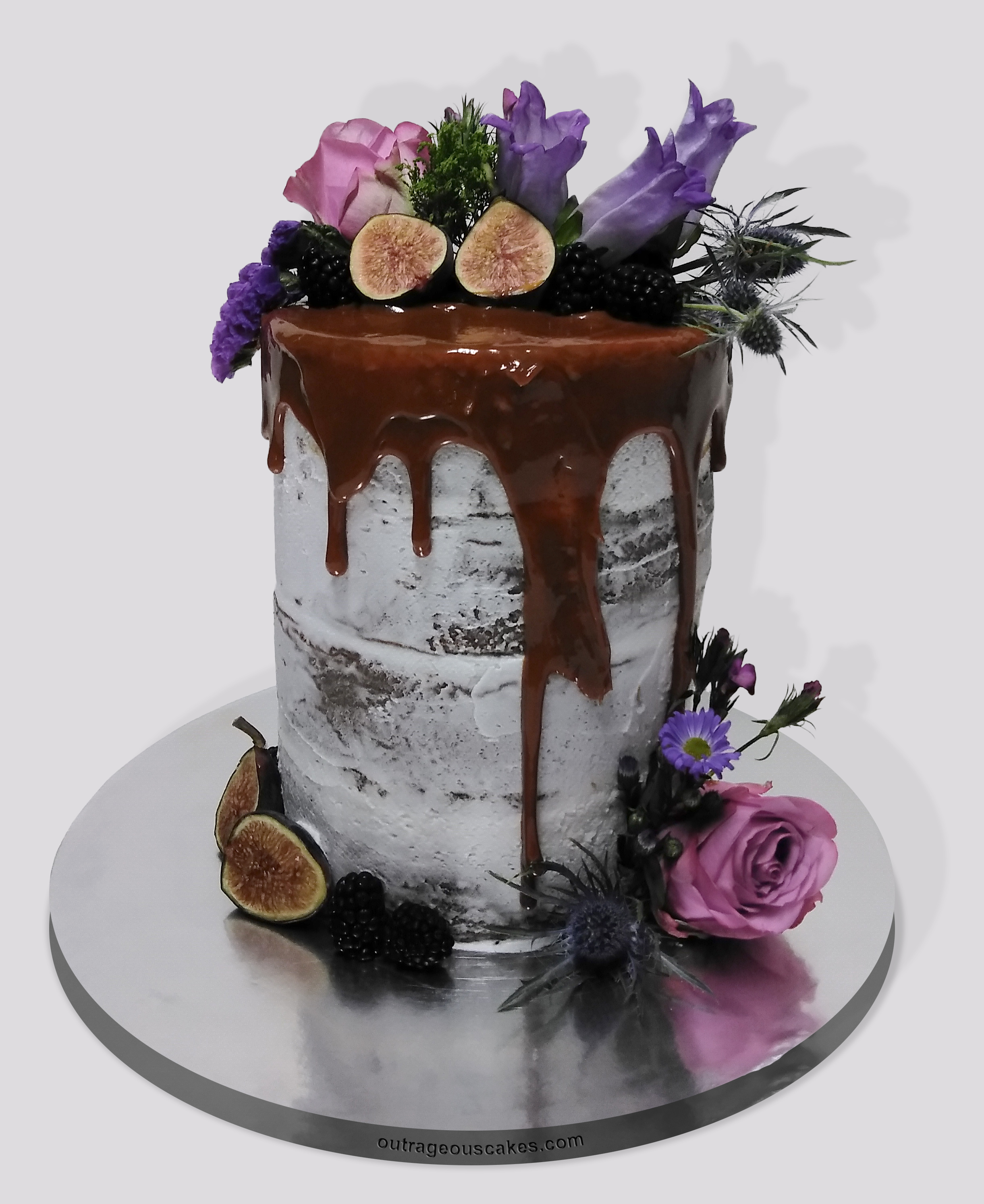 Two Tiered Semi-naked Drip Cake