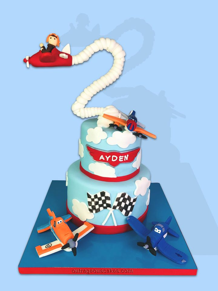 Two Tiered Planes Cake