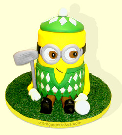Minion Golfer Cake