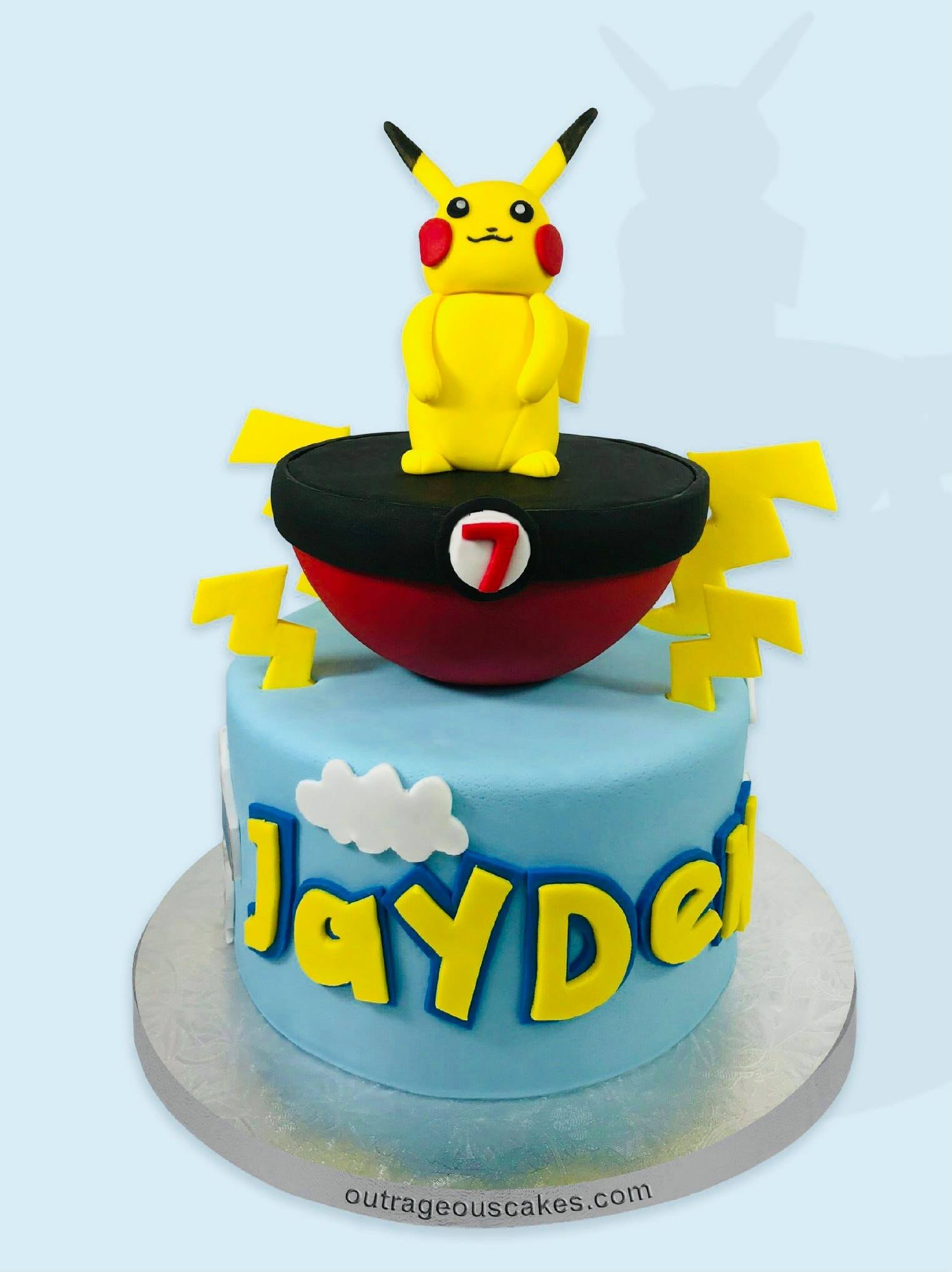 Pikachu and Pokeball Cake