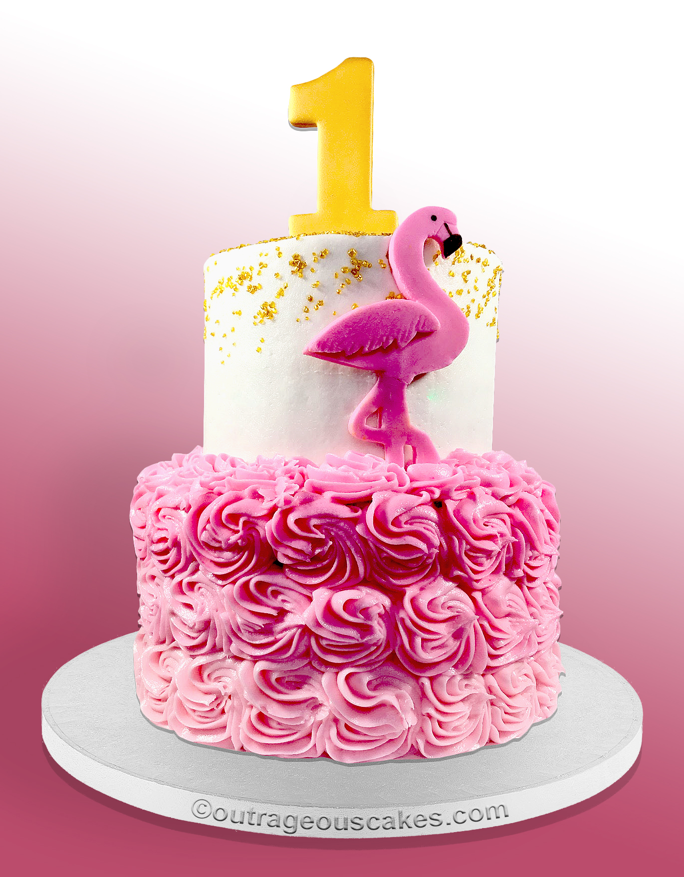 Flamingo First Birthday Cake