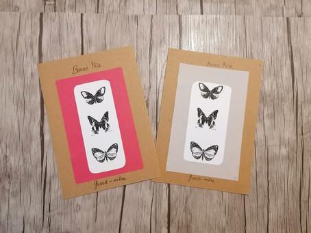 """Carte """"papillons"""" effet vintage"""