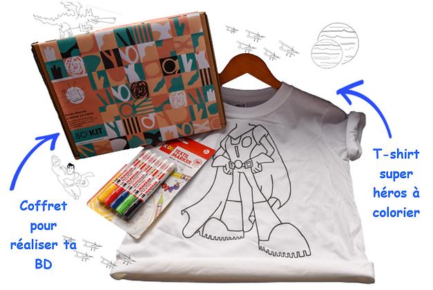 Super box Bo'kit: un t-shirt super héro à colorier, un kit DIY BD à réaliser soit même et des marqueurs textil indélibiles