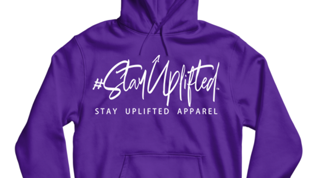 "Purple ""StayUplifted"" Hashtag Hoodie by Stay Uplifted Apparel"