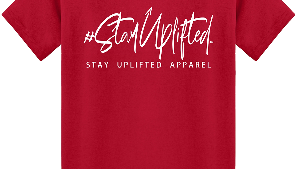 """Red """"StayUplifted"""" Hashtag Tee by Stay Uplifted Apparel"""