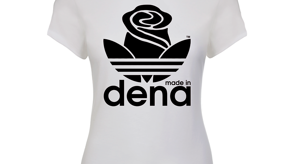 """MADE IN DENA"" Adidas-Inspired Black Logo Ladies Baby Tee"