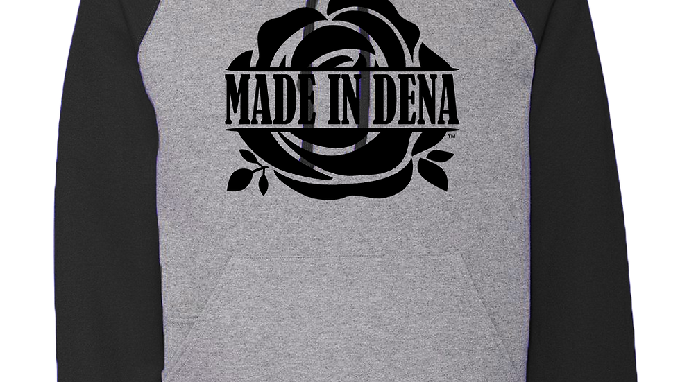 """MADE IN DENA"" Black Logo Two-Toned Hoodie"
