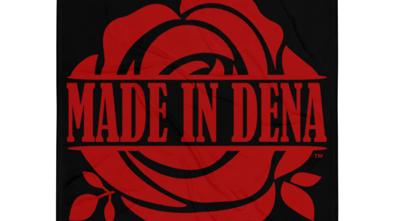 """MADE IN DENA"" Classic Red Logo Throw Blanket"