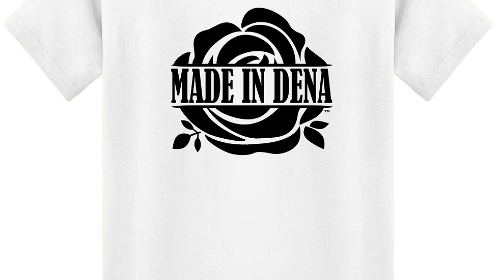 """MADE IN DENA"" Black Logo White Tee"