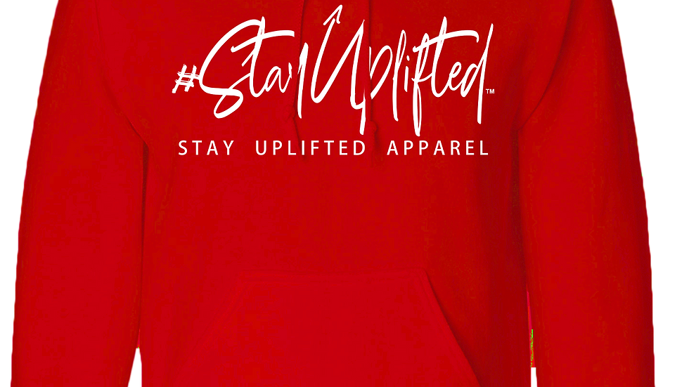 "Red ""StayUplifted"" Hashtag Hoodie by Stay Uplifted Apparel"