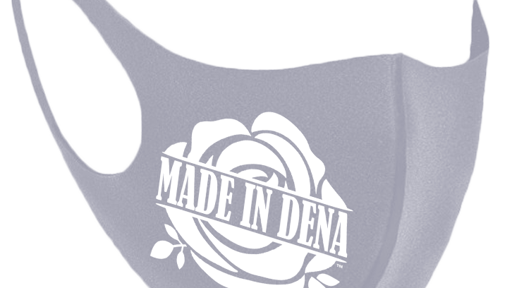 """MADE IN DENA"" Classic White Rose Logo Grey Mask"
