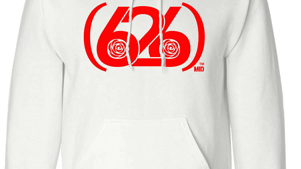 MADE IN DENA Area Code 626 Red Logo White Hoodie