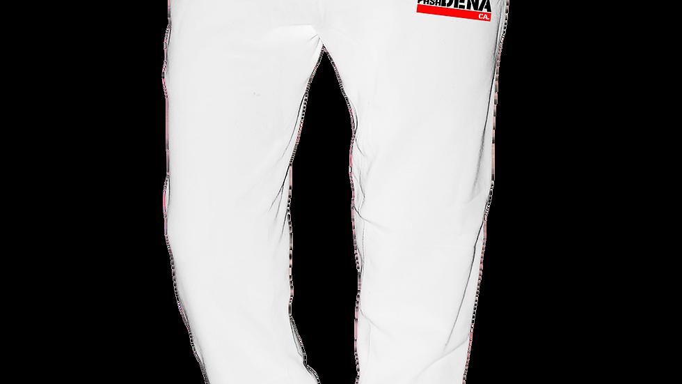 """MADE IN DENA"" Alta Pasa Red & Black Logo White Jogger Sweatpants"
