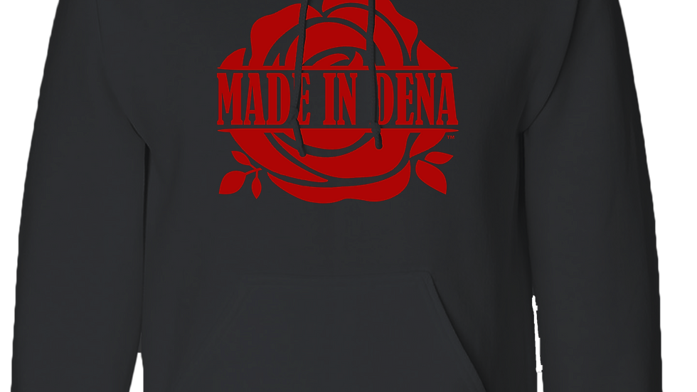 """MADE IN DENA"" Classic Red Logo Hoodie"