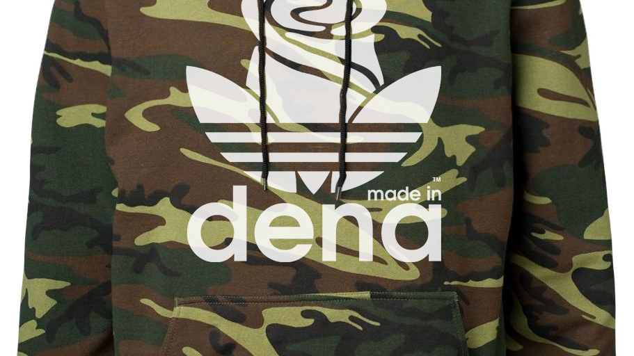 """MADE IN DENA"" Adidas-Inspired White Logo Camo Hoodie"