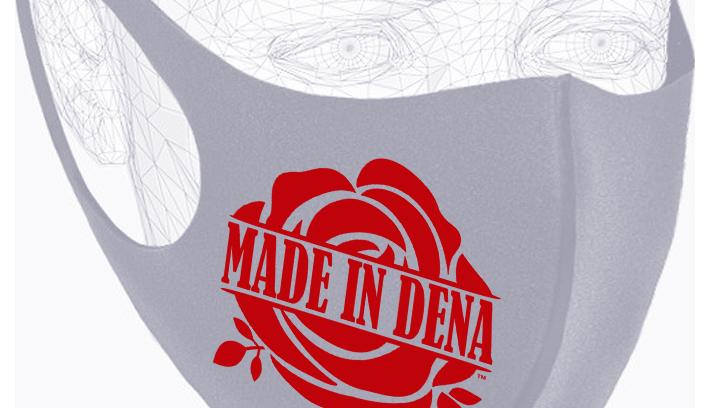 """MADE IN DENA"" Classic Red Rose Logo Grey Mask"