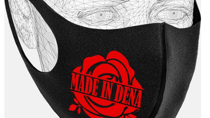 """MADE IN DENA"" Classic Red Rose Logo Black Mask"