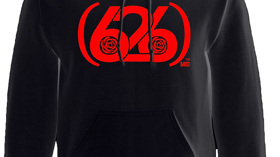 MADE IN DENA Area Code 626 Red Logo Black Hoodie