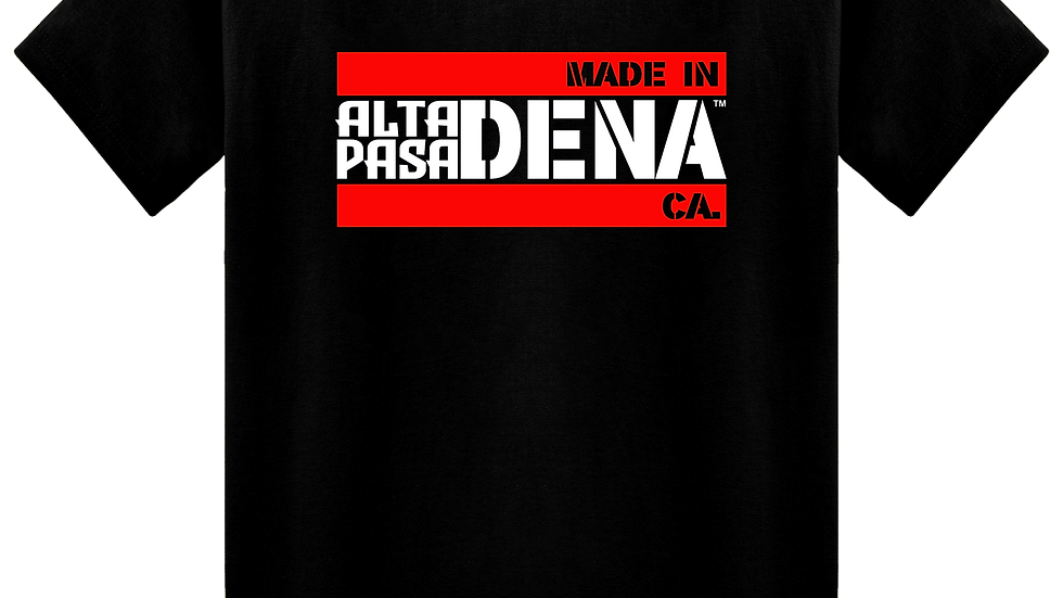 """MADE IN DENA"" Alta Pasa Red & White Logo Black Tee"