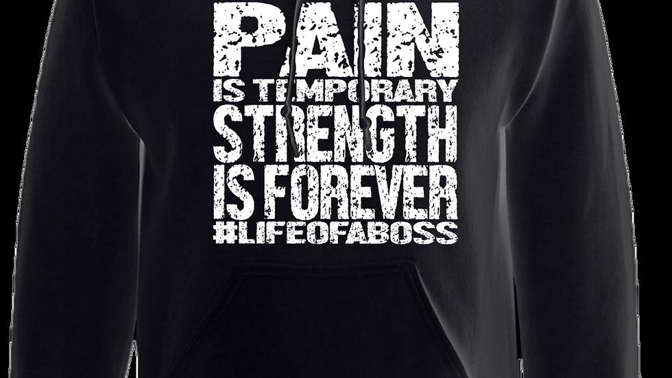 """""""PAIN IS TEMPORARY"""" LifeOfABoss Black Hoodie"""