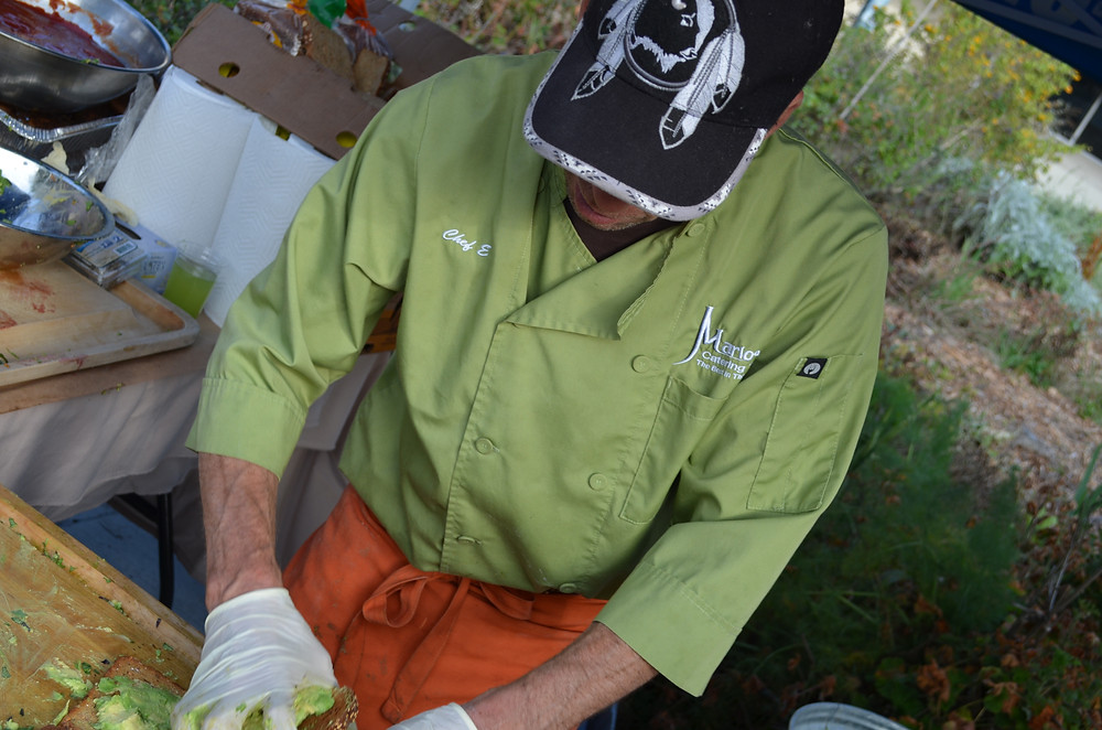 Skilled Chef prepares delicious open-face avacado sandwiches at Muir Ranch