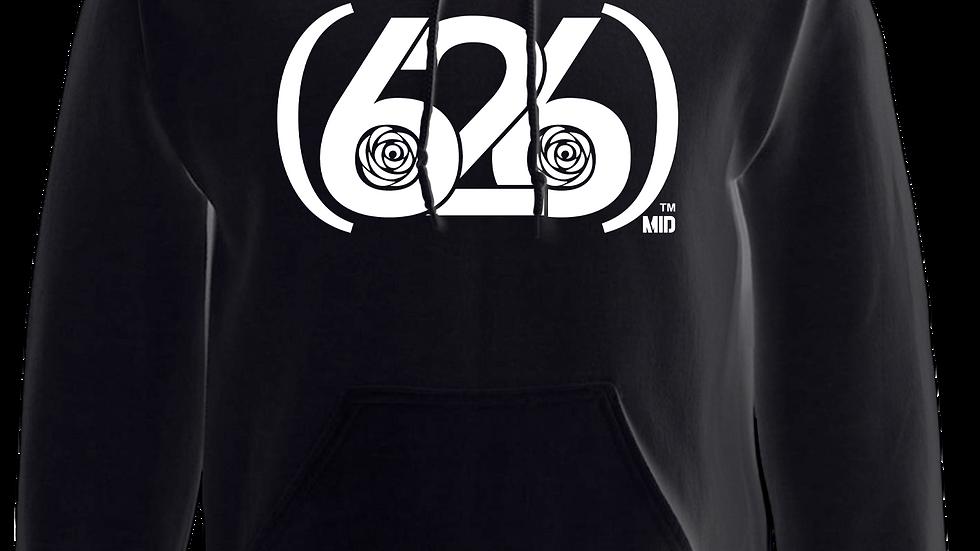 MADE IN DENA Area Code 626 White Logo Black Hoodie