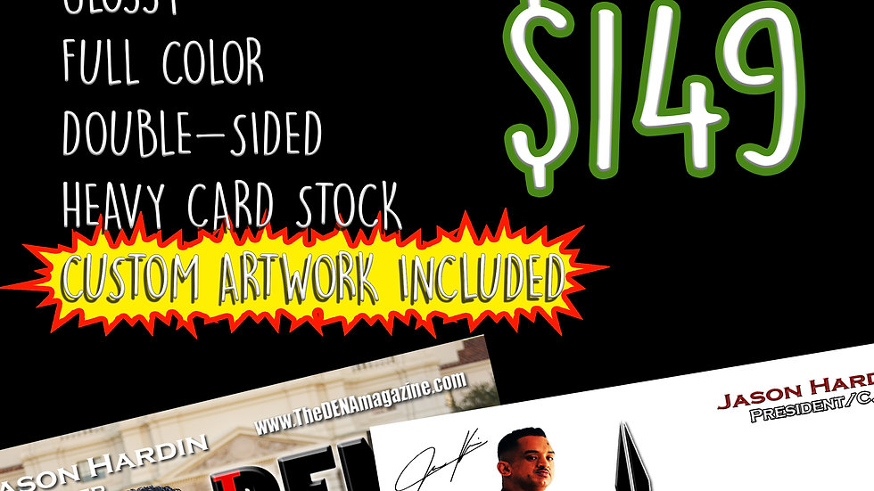 1000 Full Color Business Cards with Custom Artwork