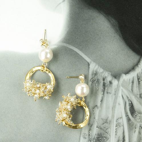 Baroque Art 月色 手工鑄造銀針耳飾