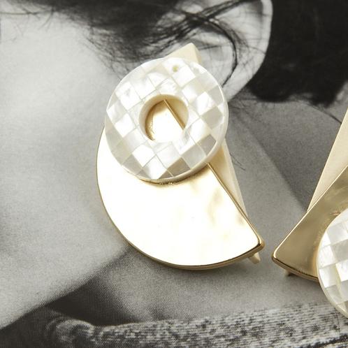Modern Art Deco  膠合金工醫療鋼耳飾