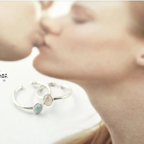 輕奢全純銀飾 新銳設計師展售系列 -韓國金工職人素材系列 海藍寶石.施華洛世奇.閃雲石戒指
