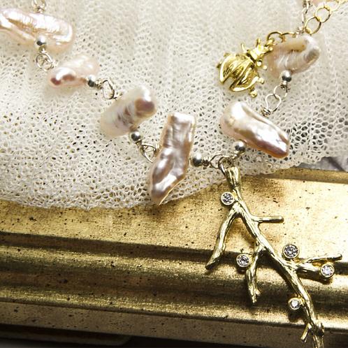 春樹 復古無鍍金手工輕珠寶項鍊AGF
